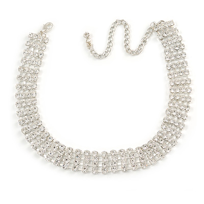 Statement 4 Row Clear Crystal Choker Necklace In Silver Tone - 29cm L/ 12cm Ext