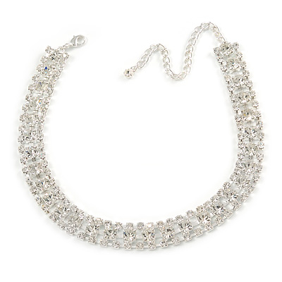 Statement Clear Crystal Choker Necklace In Silver Tone Metal - 30cm L/ 10cm Ext - main view