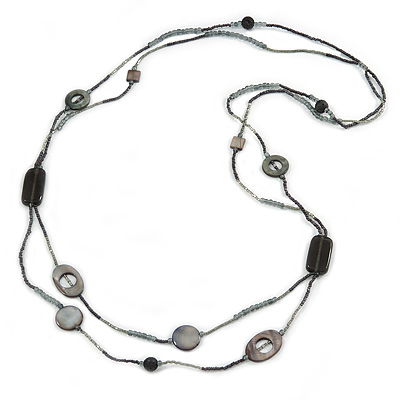 2 Strand Long Shell and Glass Bead Necklace In Black/ Slate Grey - 100cm L - main view