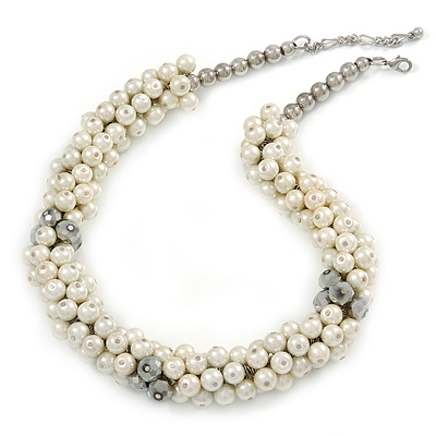 White/ Hematite Glass Pearl Bead Cluster Necklace In Silver Tone - 53cm L/ 7cm Ext
