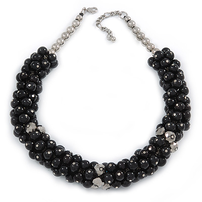 Black/ Grey Glass Pearl Bead Cluster Necklace In Silver Tone - 53cm L/ 7cm Ext - main view
