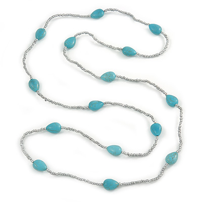 Long Turquoise Stone and Metallic Silver Glass Bead Necklace - 118cm L