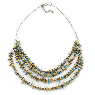 Multistrand Pale Blue Shell Nugget and Gold Tone Flower Bead Wired Necklace In Silver Tone - 60cm L/ 5cm Ext