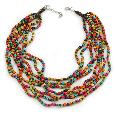 Multicoloured, Layered Multstrand Wood Bead Necklace - 68cm L/ 5cm Ext