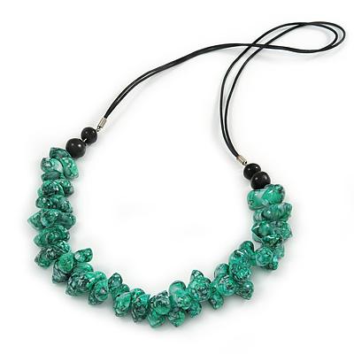 Aqua Green Sea Shell Nuggets Black Waxed Cords Necklace - 70cm L