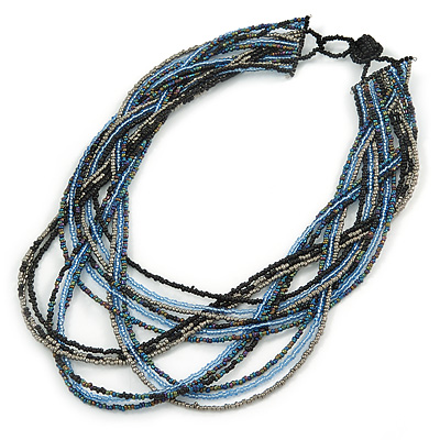 Black/ Silver/ Blue Multistrand Bib Style Necklace - 50cm L