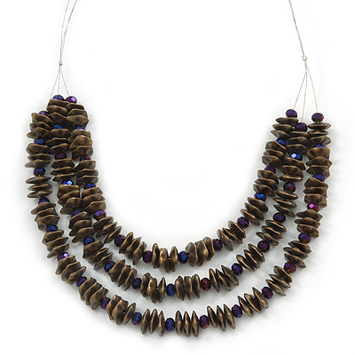 Stylish Layered Bronze Acrylic Nugget and Purple Glass Bead Wired Necklace - 56cm L