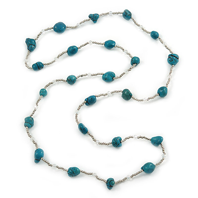 Long Turquoise Stone and Silver Tone Acrylic Bead Necklace - 118cm L