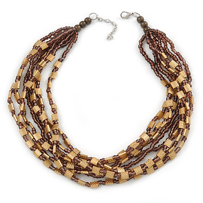 Multistrand Plum Glass Bead and Gold Tone Acrylic Bead Necklace - 43cm L/ 5cm Ext