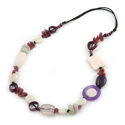 White/ Purple Resin/ Bone Geometric Bead with Black Cotton Cord Necklace - 72cm L (Adjustable)