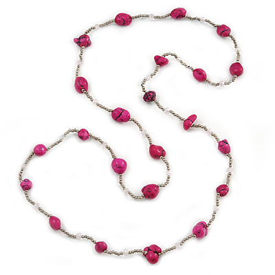 Long Deep Pink Stone and Silver Tone Acrylic Bead Necklace - 106cm L