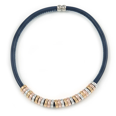Dark Blue Leather with Gold/ Silver/ Rose Gold Rings Magnetic Necklace - 43cm L