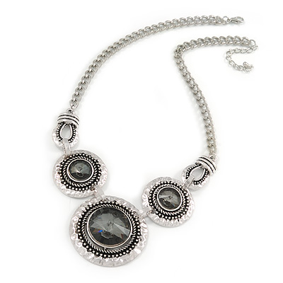 Triple Circle With Light Grey Glass Stone Chunky Silver Tone Chain Necklace - 48cm L/ 6cm Ex