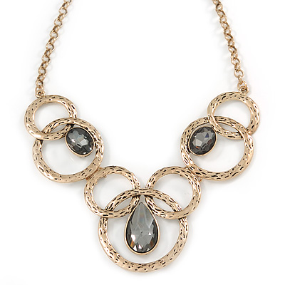 Antique Gold Ethnic Circle with Grey Glass Stone Chunky Round Link Chain Necklace - 46cm L/ 4cm Ext