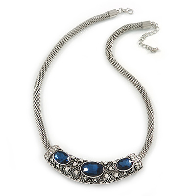 Vintage Inspired Mesh Chain With Midnight Blue/ Clear Crystal Sliding Bar Pendant Necklace In Silver Tone - 44cm L/ 4cm Ext