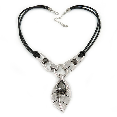 Vintage Inspired Leaf Pendant with Black Waxed Cords In Silver Tone - 44cm L/ 5cm Ext