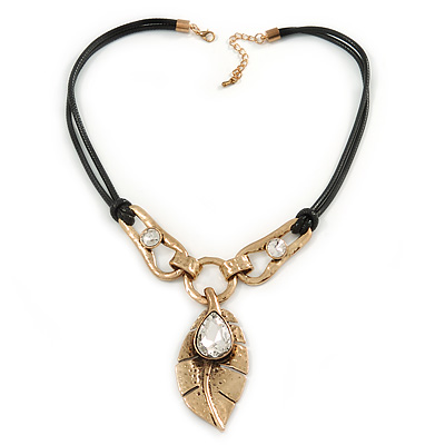 Vintage Inspired Leaf Pendant with Black Waxed Cords In Antique Gold Tone - 44cm L/ 5cm Ext