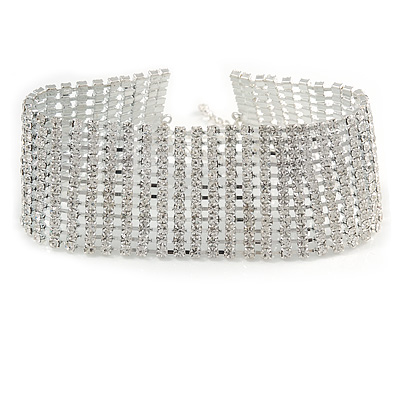 Statement 12 Row Clear Crystal Choker Necklace In Silver Tone - 29cm L/ 12cm Ext