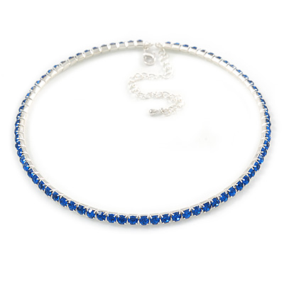 Thin Sapphire Blue Top Grade Austrian Crystal Choker Necklace In Rhodium Plated Metal - 36cm L/ 9cm Ext