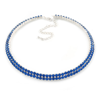 2-Row Sapphire Blue Austrian Crystal Choker Necklace In Silver Tone Metal - 38cm L/ 10cm Ext