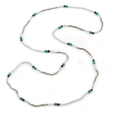 Extra Long Glass, Acrylic Bead Necklace (Teal, Transparent, Silver) - 160cm L - main view