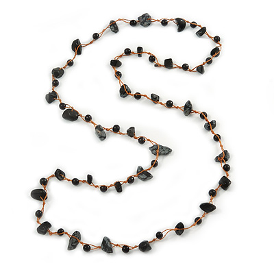Black Ceramic Bead, Grey Glass Nugget Orange Cotton Cord Long Necklace - 90cm L