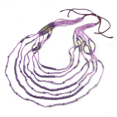 Long Multistrand Lavender, Pink, Plum Glass Bead Suede Cord Necklace - Adjustable - 140cm Max