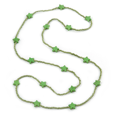 Long Kiwi Green Glass Bead, Ceramic Star Necklace - 108cm L