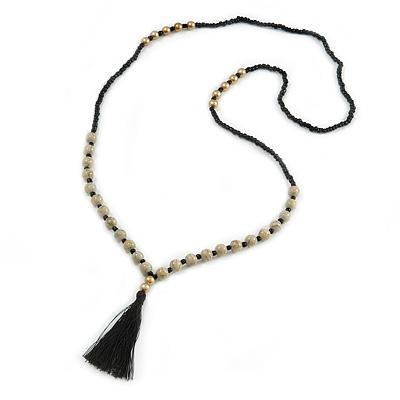 Long Black Glass/ Beige Ceramic Bead with Silk Black Tassel Necklace - 96cm L/ 9cm Tassel