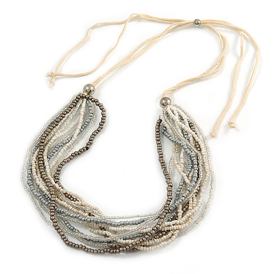 White/ Transparent/ Silver/ Taupe Glass Bead Multi Strand with Ivory Suede Cord Necklace - Adjustable - 64cm Min/ 88cm Max