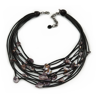 Statement Floating Shell Mutlistrand Black Waxed Cords Necklace - 54cm L/ 8cm Ext