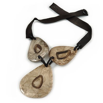 Statement Tribal Resin Bead with Black Leather Cord Necklace - 50cm L/ 9cm L Front Drop