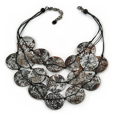 Statement Coin Shell Multistrand Layered Black Waxed Cords Necklace - 52cm L/ 7cm Ext