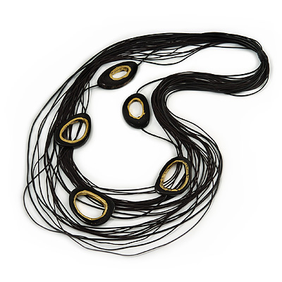 Long Multistrand Layered Black Waxed Cord with Gold Wood Oval Link Necklace - 116cm L