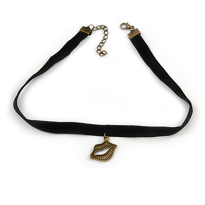 Black Velour Choker Necklace with Bronze Tone Lips Pendant - 34cm L/ 4cm Ext