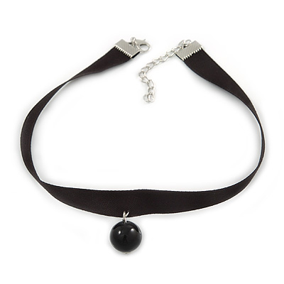 Black Silk Ribbon Choker Necklace with Black Ceramic Bead 15mm Pendant - 30cm L/ 5cm Ext
