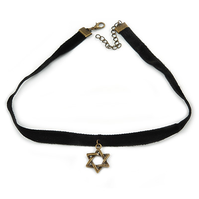 Black Velour Choker Necklace with Bronze Tone Star Pendant - 35cm L/ 4cm Ext