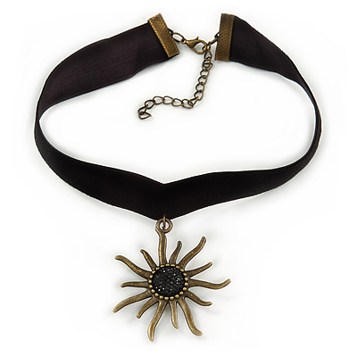 Black Velour Choker Necklace with Bronze Tone Star Pendant - 30cm L/ 6cm Ext