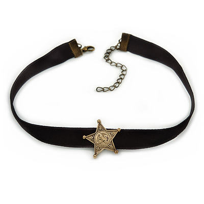 Black Velour Choker Necklace with Antiqure Gold Tone Star Pendant - 30cm L/ 6cm Ext