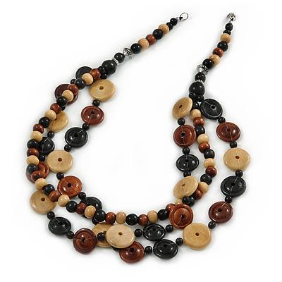 3 Strand Black/ Brown/ Neutral Round, Button Wooden Beads Necklace - 70cm