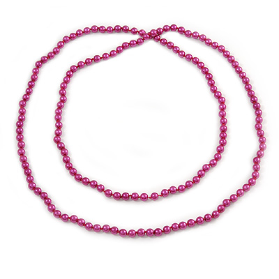 Long Deep Pink Glass Bead Necklace - 140cm Length/ 8mm