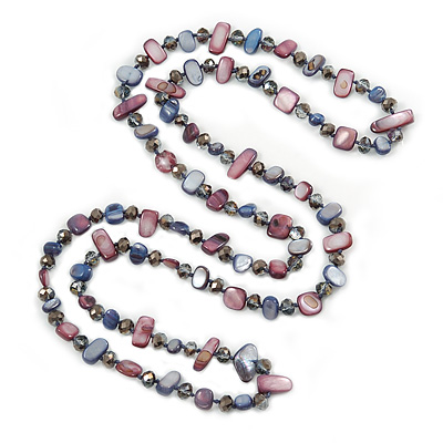 Long Inky Blue, Plum Shell Nugget and Glass Crystal Bead Necklace - 110cm L