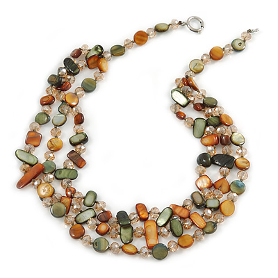 3 Strand Olive/ Mustard Shell Nugget and Crystal Bead Necklace with Silver Tone Spring Ring Closure - 52cm L/ 6cm Ext