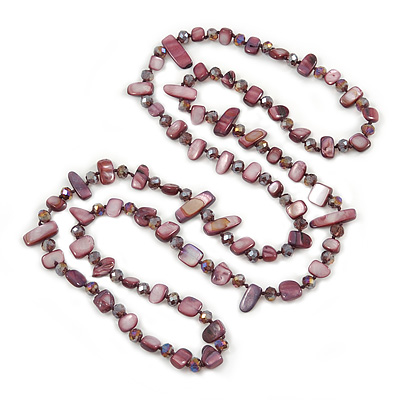 Long Purple Shell Nugget and Glass Crystal Bead Necklace - 112cm L