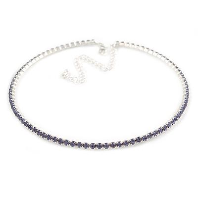 Thin Light Amethyst/ Purple Top Grade Austrian Crystal Choker Necklace In Rhodium Plated Metal - 36cm L/ 10cm Ext