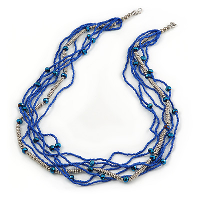 Multistrand Electric Blue/ Silver Glass Bead Necklace - 90cm L