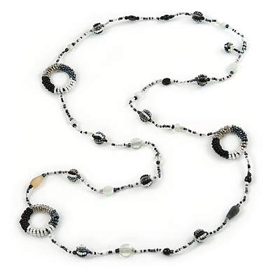Long Single Strand Glass Bead Necklace (Balckt/ Transparent/ Hematite/ White) - 124cm L - main view
