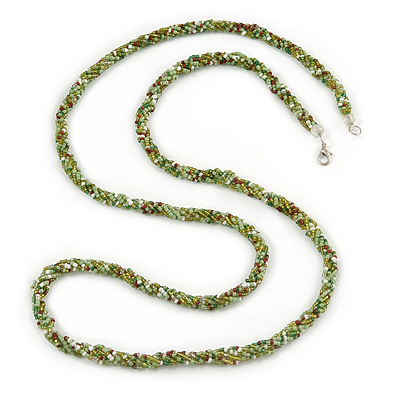 Long Multistrand Twisted Glass Bead Necklace (Mint Green, Olive, White) - 110cm L - main view