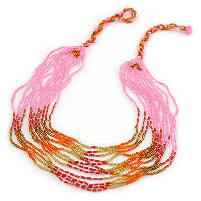 Baby Pink/ Orange/ Red/ Bronze Glass Bead Mulstistrand Necklace - 64cm L