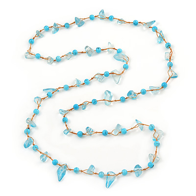 Ligth Blue Ceramic Bead, Pale Blue Glass Nugget Orange Cotton Cord Long Necklace - 96cm L